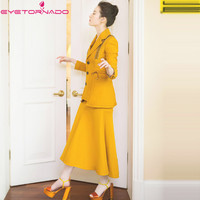 Для женщин Однобортный ленты Блейзер Топ + короткие высокая Талия Тюль юбка миди костюм осень Повседневная Рабочая одежда Униформа Комплек