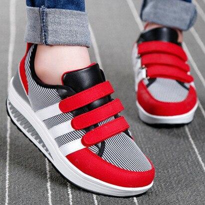 Nuevo 2017 altura creciente zapatos para caminar mujer moda transpirable rayas hook & loop zapatos de plataforma casuales de las mujeres enredaderas