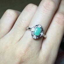 Vintage 1ct Emerald May Birthstone Rings for Women Solid 925 Sterling Silver Ring Oval 5*7mm Green Fine Jewelry Haleigha anillos