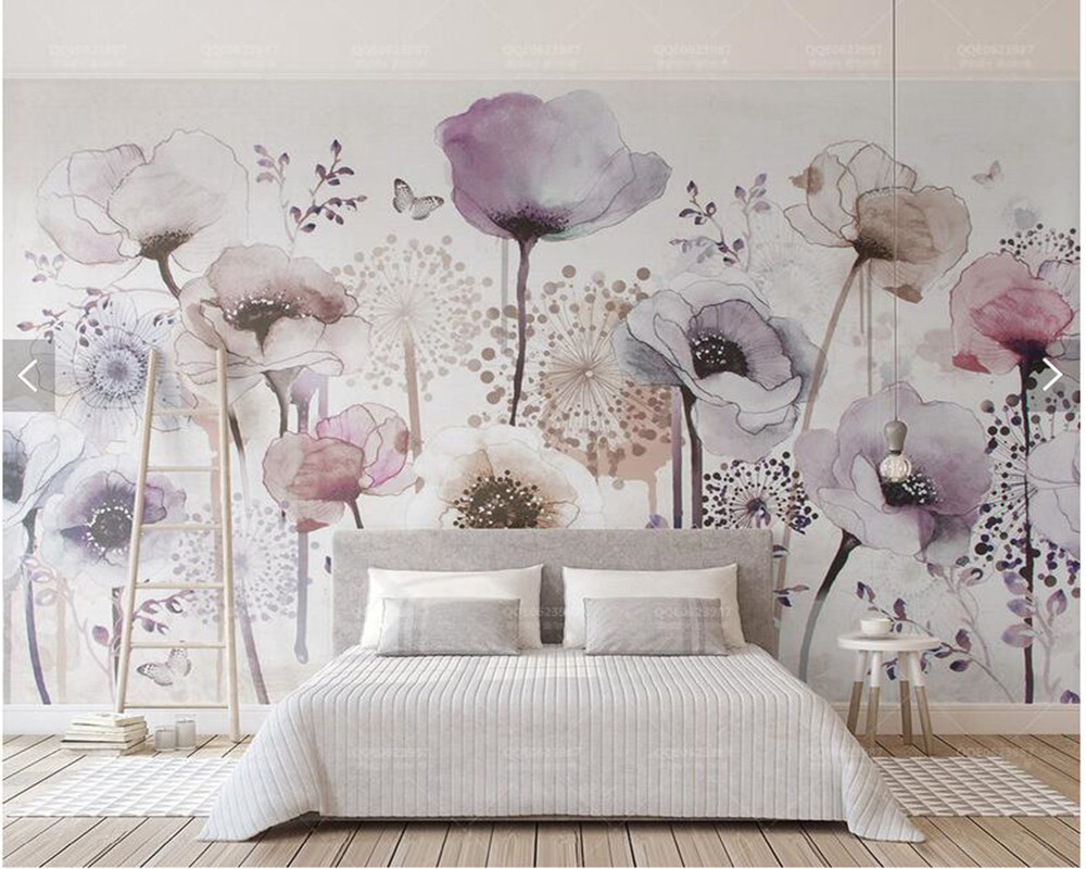 Custom 3D wallpaper flower, lilac flower watercolor murals for ...