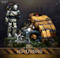 1/20 Scale 90mm robot model kits, robot and dog resin model kits scene of the base unassembled and unpainted Free shipping G1