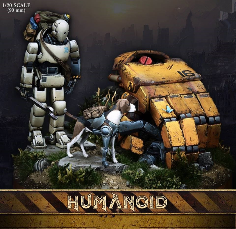 1/20 robot and dog unpainted resin model  kits  scene of the base unassembled model  kits Z468 heir of the dog