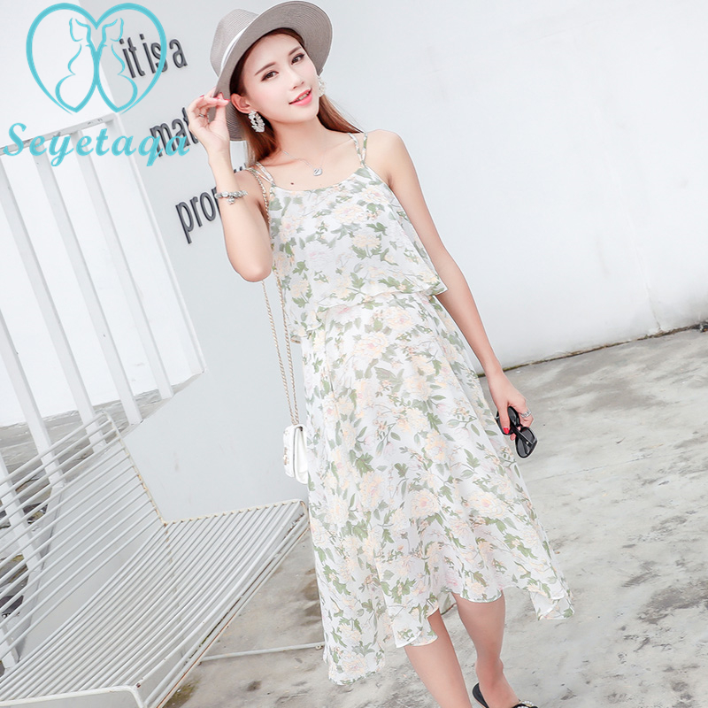 6d166c8086467 020  Floral Printed Chiffon Maternity Nursing Slip Dress Strapless Long  Sundress for Pregnant Women Summer Pregnancy Beach Wear-in Dresses from  Mother ...