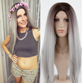 "Kylie Jenner Wig Grey Ombre Wigs SyntheticWigs For Black Women 24"" Kylie-Jenner Long Straight Natural Grey Kylie Jenner Wigs"