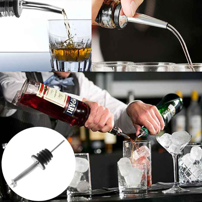 Stainless Steel Whisky Liquor Oil Flow Wine Bottle Pourer Pour Spout Stopper With Lid Barware Tool