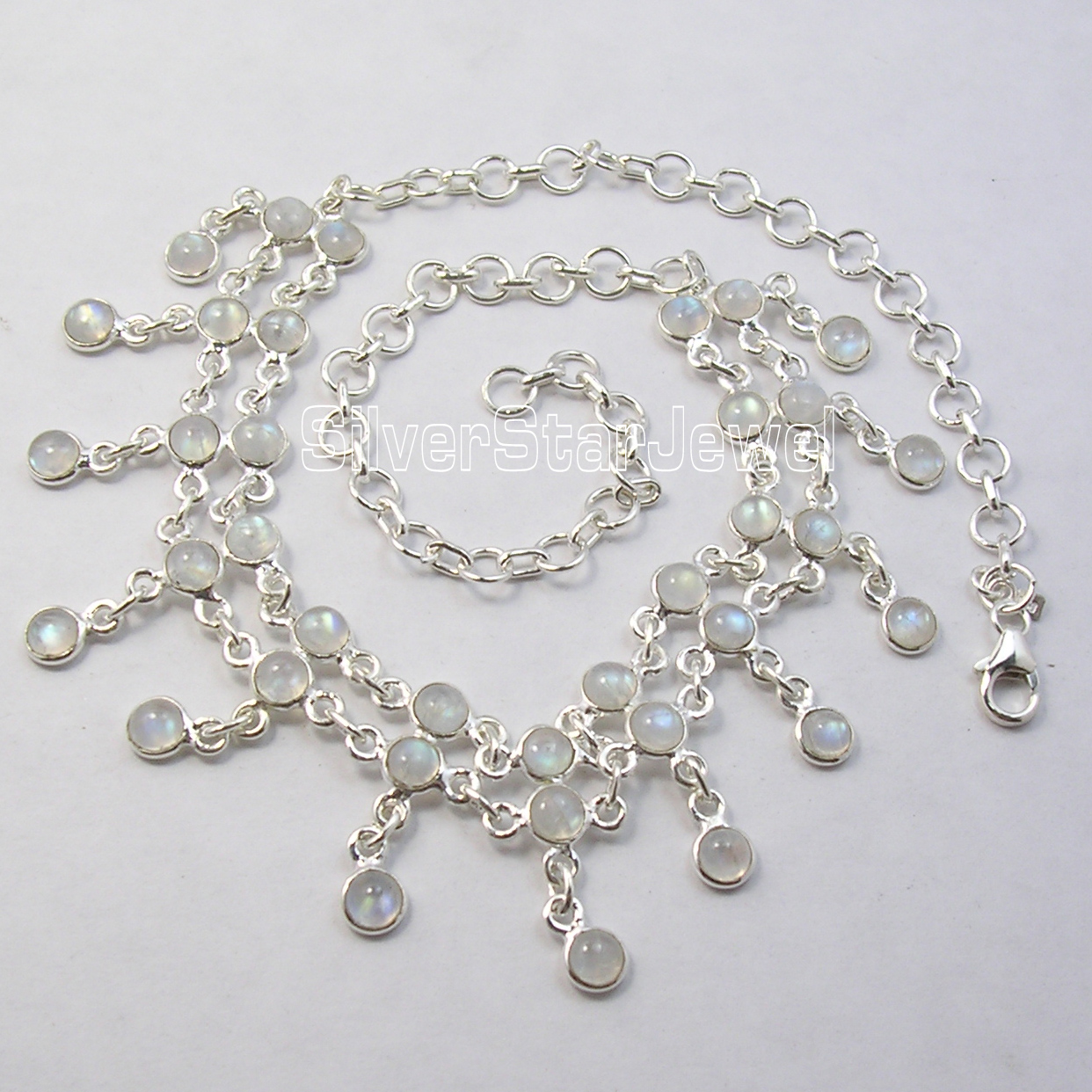 Cari International Solide Argent RAINBOW MOONSTONE FEMMES À LA MAIN Collier Ras Du Cou 16.5 Pouces