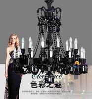 Large Black Crystal Chandelier Cristal Lustres Hotel Luxury Chandeliers Luminaria Led Large Chandelier Living Room Villa
