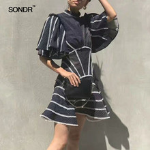SONDR 2019 Summer Sexy Backless Dresses Women Stand Collar Short Sleeve High Waist Patchwork Lace Polka Dot Dress Female New