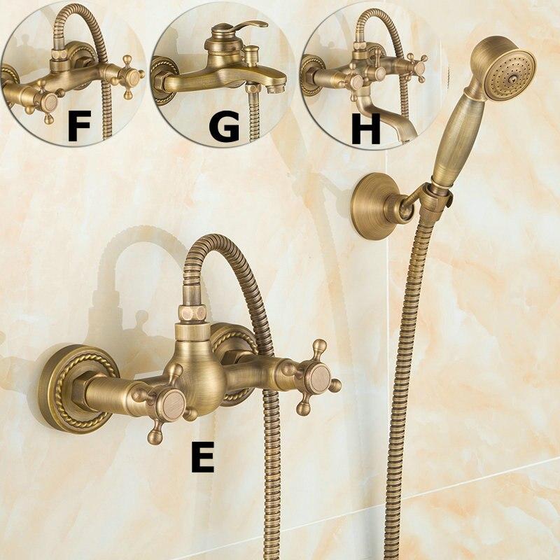 Antique laiton brossé robinets de bain mural salle de bain bassin mélangeur robinet grue avec main douche tête bain et douche robinet - 3