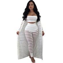 New Plus Size 3 Piece Strapless Short Crop Top Trousers Set And Long Coat Autumn  Women Sexy Pencil Pant Set Bodycon Slim HXJ5121 8187fd5f39d1