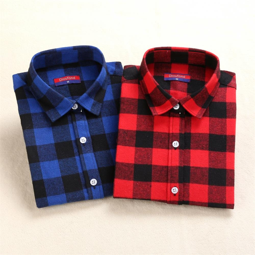 Dioufond Flannel Plaid Shirt Kvinnor Bomull Toppar Röd Plaid Shirt Plus Storlek 5XL Feminin Blouse Casual Kläder Fashion School Top