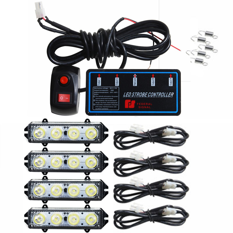 4*4 светодиодный высокой мощности автомобиля стробоскопы 16 Светодиодный Flash лампы полиции Решетка Strobe Light светодиодный предупредительные ог...