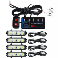 4*4led high power Vehicle Strobe Lights 16LED Flash lamp Police grille strobe Light led car warning lights red blue amber white