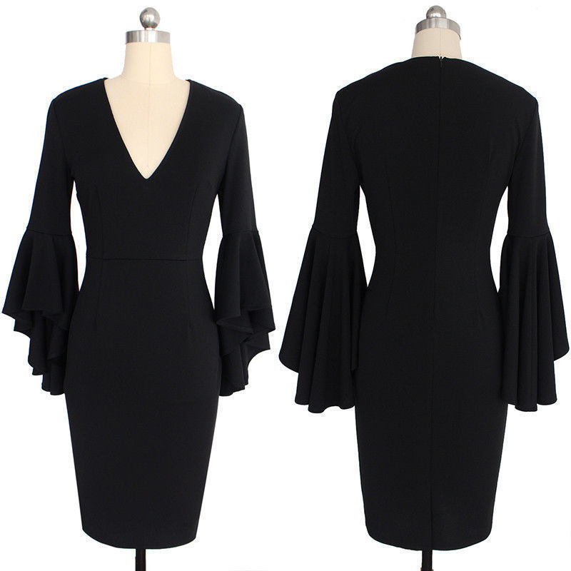 Сексуальные коктейльные платья с v-образным вырезом, Короткие вечерние платья с длинным рукавом, платье длиной до колена, коктейльное повседневное облегающее платье с оборками