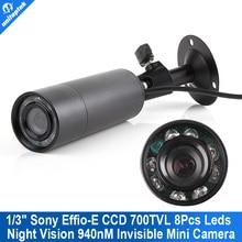 2015 Upgrade New Mini Outdoor Invisible 8 IR 940nm 0 lux Nightvision Sony Effio-E 700TVL Mini Bullet CCTV Camera For 960H D1 DVR