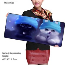 Mairuige Animal  White Black Cat  Large Gaming Mouse Pad Locking Edge Speed Version Mouse Mat Table Laptop Mat for Dota 2 CS Go rakoon 30 80cm large gaming mouse pad all black faced red blue black green lock edge rubber speed mouse mat for pc laptop