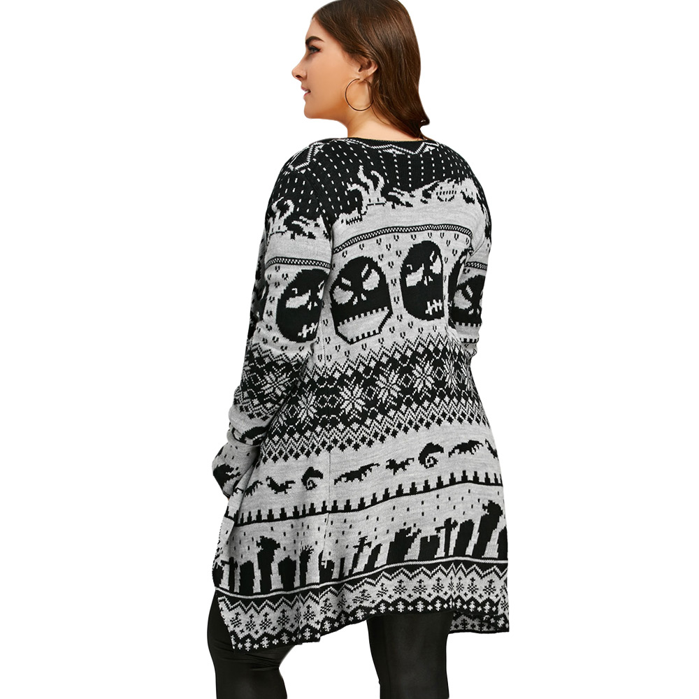 Gamiss Women New Plus Size Halloween Skull Knitted Tunic Cardigan