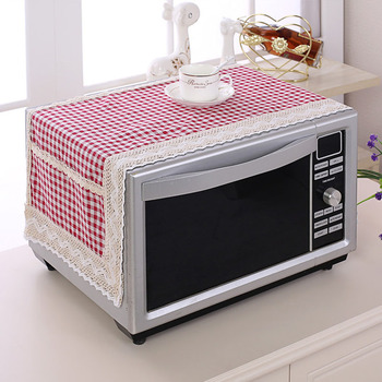 SRYSJS kolorowe bawełniane i lniane kuchenka mikrofalowa kurz pokrywa podwójna kieszeń etui do mikrofalówki ręcznik łatwa do czyszczenia tanie i dobre opinie Duszpasterska Other 100 len