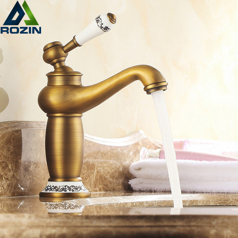 Retro Style Basin Sink Faucet Single Handle Vessel Sink Mixer Taps Antique Brass Ceramic Lever with Hot and Cold Water