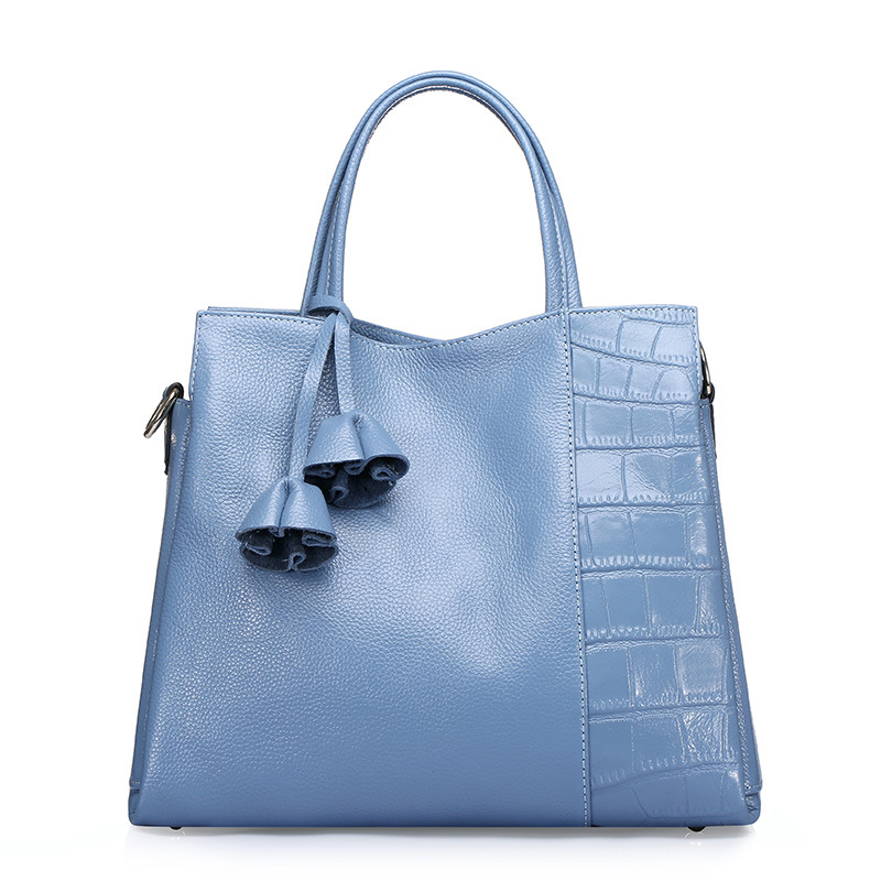 2018 Women Geniune Leather Handbag Feminina Luxury Bag Soft Cowhide Fashion Litchi Stria Patchwork Stone Texture Flower Tassels : 91lifestyle