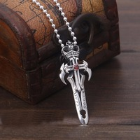 S925 Stering Silver Inlaid Red Stone Sword Pendant Fashion Cool Punk Men And Women Cross Pendant