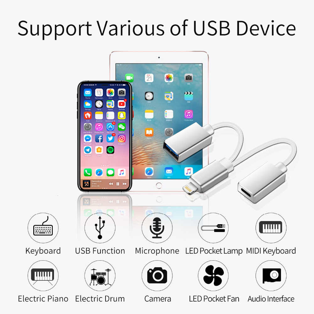 MeloAudio for Lightning to USB OTG Charging Cable, Male to Female, for iPhone/ iPad/iPod MIDI Piano Keyboard AMP DAC Microphone