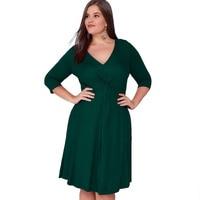 5xl 6xl Large Sizes Autumn Winter Dress Women High Quality Office Work Long Sleeve Sexy Green