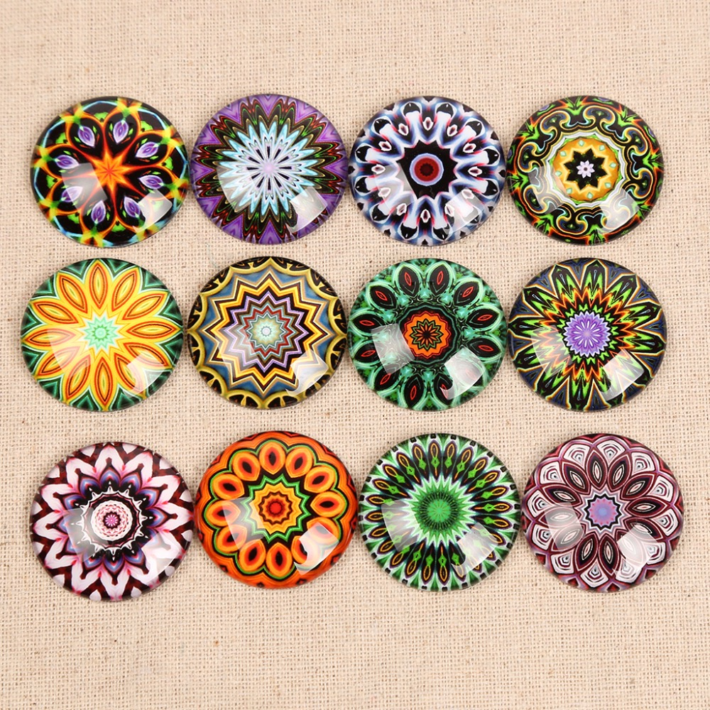 Onwear Pattern Mandalas Photo Round Dome Glass Cabochon 30mm 12mm 25mm 20mm Diy Flat Back Jewelry Findings For Pendant Necklace