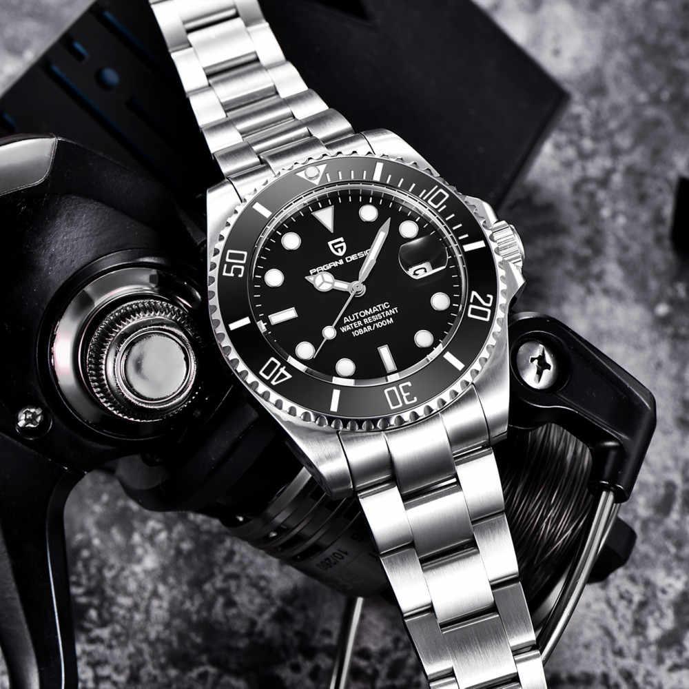 2019 DESIGN Da Marca PAGANI Mergulhador Safira Mecânico Automático Mens Assistir 100M À Prova D' Água Esporte Masculino Relógio de Pulso Relogio masculino