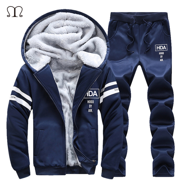 8bfd694c New Winter Tracksuits Men Set Thicken Fleece Hoodies + Pants Spring  Sweatshirt Sportswear Set Male 2pcs Hoodie Sporting Sets