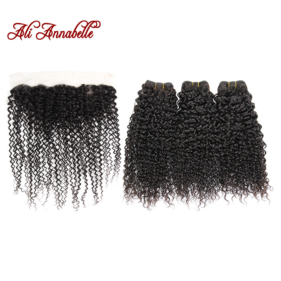 ALI ANNABELLE Indian Kinky Curly Lace Frontal Closure 100 Human Hair 3 Bundles With 13 4