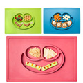 Baby Smile Silicone Dinner Plates Animal Partition Plate Dishes Plates Sets Children Fruit Bowl Toddlers Smiling Mat 38x25.3cm