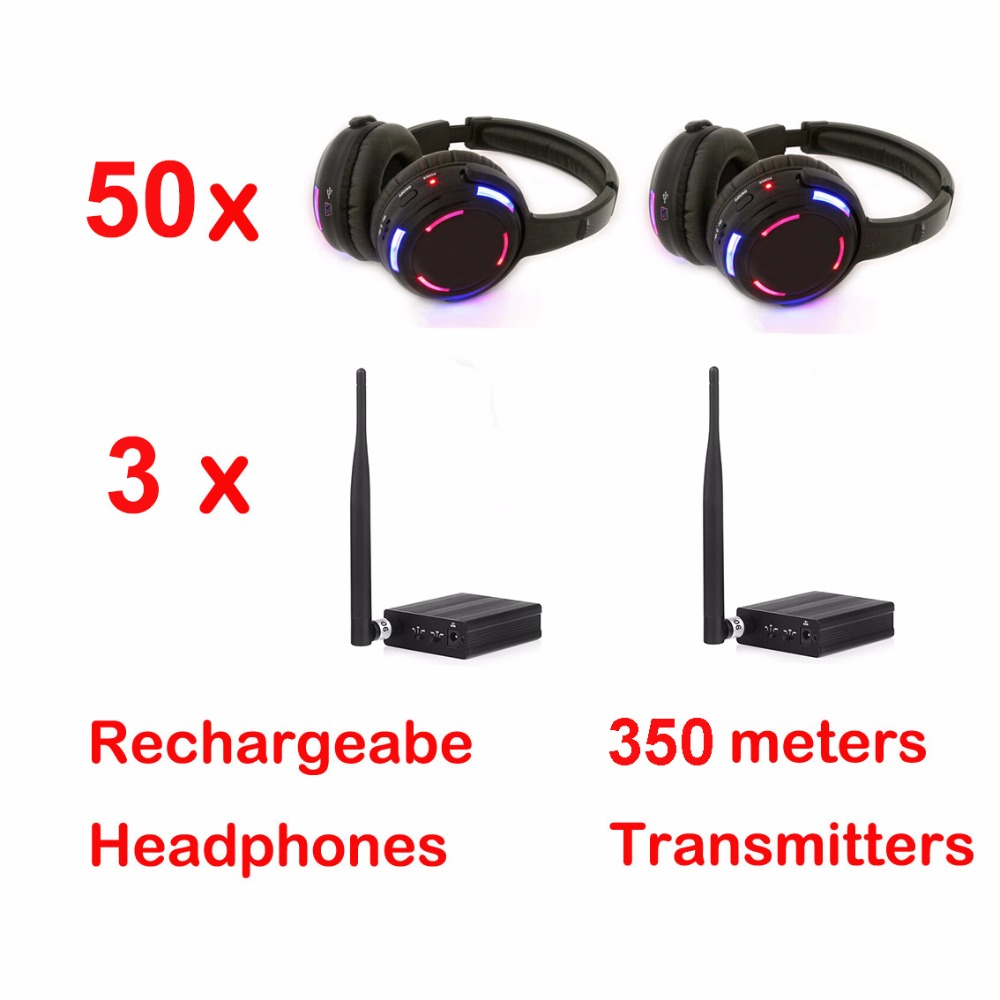 Professional 500m distance Silent Disco 50 LED Headphones with 3 transmitters RF Wireless For DJ club party meeting broadcast