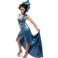 Latex Rubber mermaid Dress sexy club long dresses longuette blue color eveningwear evening clothes