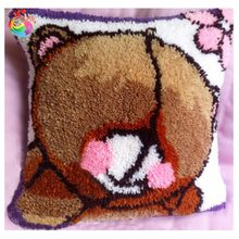 Unfinished Yarn Embroidery Set Pillowcase Latch Hook Cushion Kits Gift DIY Needlework Crocheting Throw Pillow Picture Bear(China)