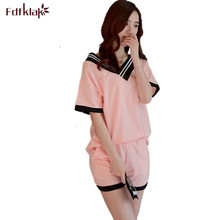 Korean Summer 2 piece set women sexy v-neck ladies pyjamas short sleeve women's pajamas casual home suit pijama de mujer Q0136