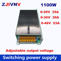 1100W Switching Power Supply DC output voltage adjustable 0 30V 35A, SMPS 0 36V 30A AC/DC power supply 0 48V 23A, AC 110V 220V