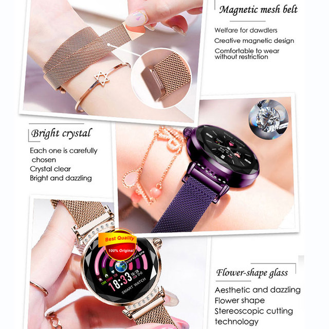 Newest Fashion H2 Smart Wristband Women 3D Diamond Glass Heart Rate Blood Pressure Sleep Monitor Waterproof Smart Watch