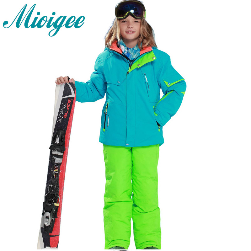 Mioigee 2017 Children Suit Outdoor Ski Hooded Jackets+Bandage Pants 2pcs Sets boys winter warm sports suit Waterproof waterproof 2016 winter boys ski suit set children s snowsuit for baby girl snow overalls ntural fur down jackets trousers clothing sets