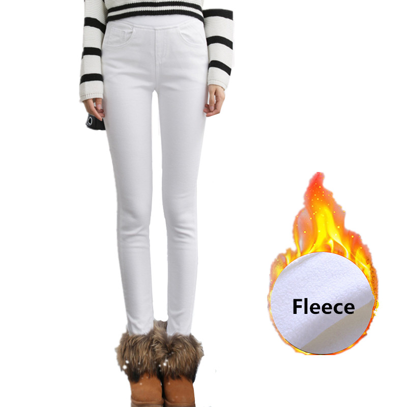 Women's Winter Warm Thick Fleece Elastic Waist White Jeans Female Skinny Denim Black Warm Fleece Pencil Trousers Leggings Winter