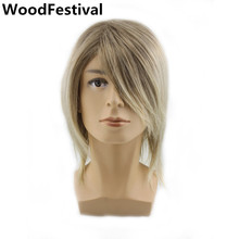 mens blonde wig male handsome man wigs hair heat resistant ombre synthetic wigs men brown wig short straight WoodFestival handsome short full bang straight synthetic wig