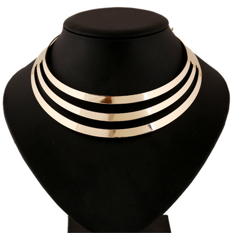 collier femme 2017 Choker Maxi Necklace For Women Gold Silves