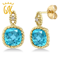 Gemstoneking 5.48 ct cojín 8mm natural topacio azul y diamantes 10 k oro amarillo de la vendimia de las mujeres pendientes