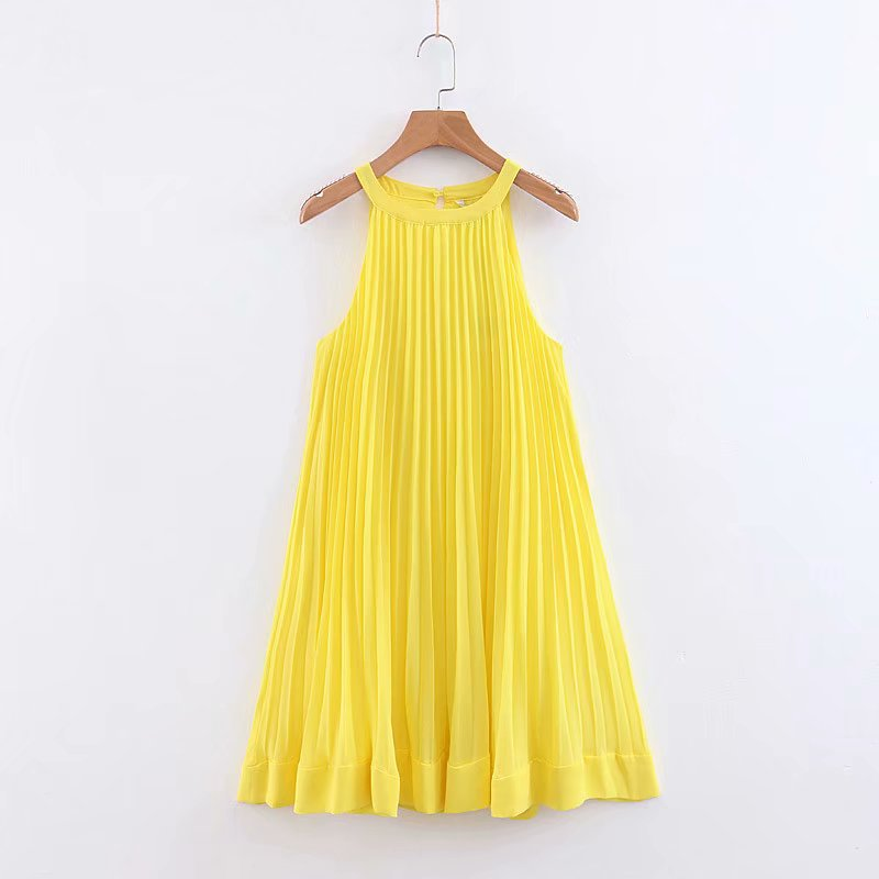 New Summer Women Sweet Sleeveless Yellow Pleated Dress Femme Hem Ruffles Halter Vestidos Casual Loose Chic Party Dresses DS2083