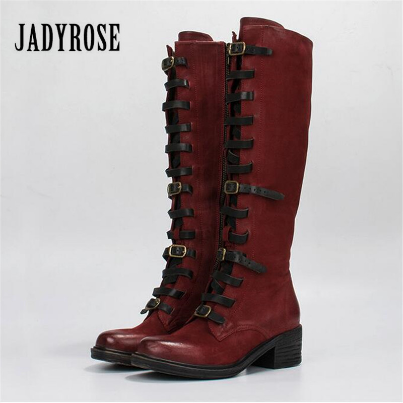 Jady Rose Red Female Knee High Boots Retro Martin Boot Women Autumn Winter High Boots Straps Shoes Woman Platform Rubber jady rose vintage black women knee high boots lace up side zip platform high boots thick heel flat martin boot for autumn winter