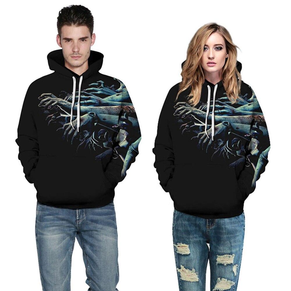 Women/Men Black Sport Sweatshirt Hoodies Zombies 3D Print Halloween Punk Sportwear Unisex Gym Tops Autumn Pocket Hooded Pullover