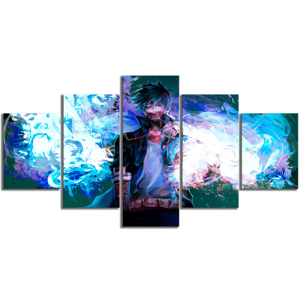 5 Piece Dabi Blue Flames My Hero Academia Anime Poster Drawing Art Canvas Paintings for Home Decor 3