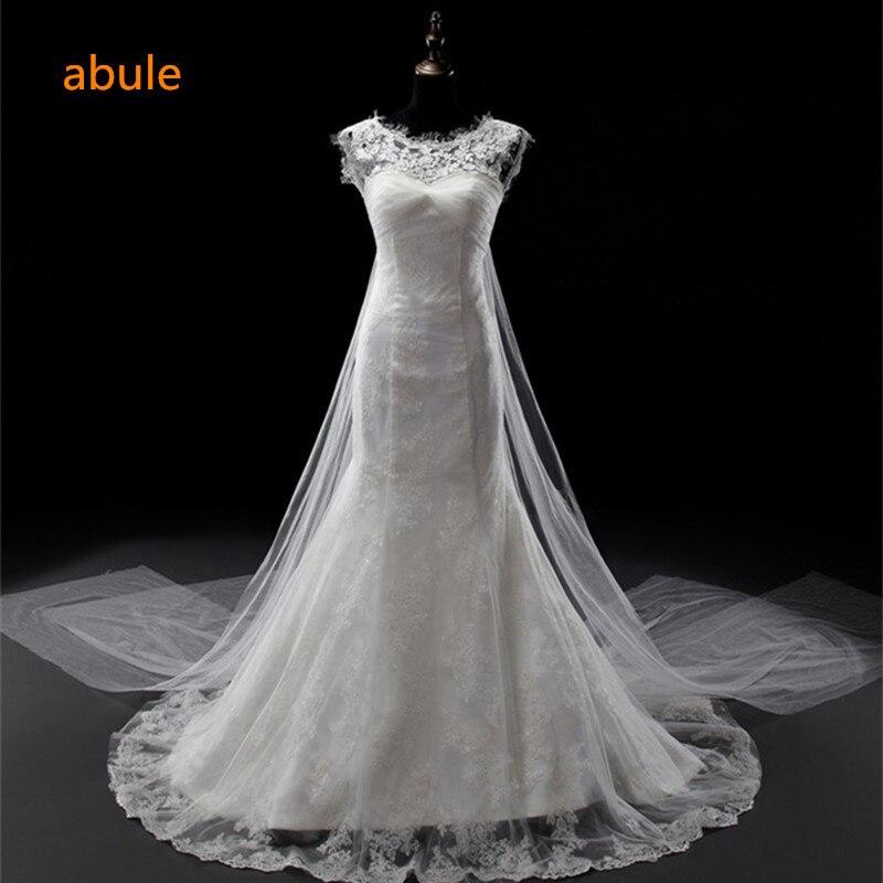Abule renda gaun pengantin, 2018 seksi pantai putri duyung, Gaun pengantin, Renda tanpa lengan belaka Plus ukuran Embroifery Cosplay Novia