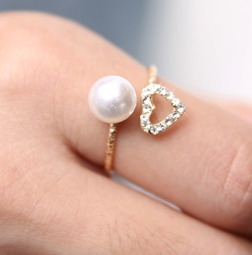 Lord of the rings Vintage Rings Pearl Finger Heart Shape Ring For