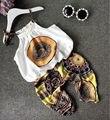Retro Da Criança Do Bebê Meninas Outfits Clothes Set Floral Camis Tanques + Harem Pants 2 PCS Roupa Das Crianças